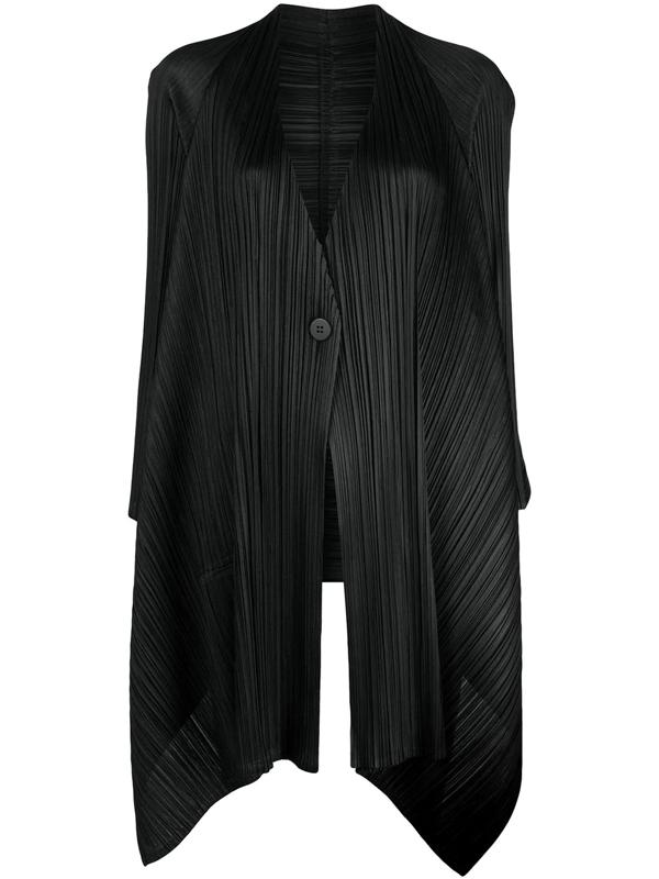 Pleats Please Issey Miyake Echo Asymmetrical Pleated Cardigan In Black