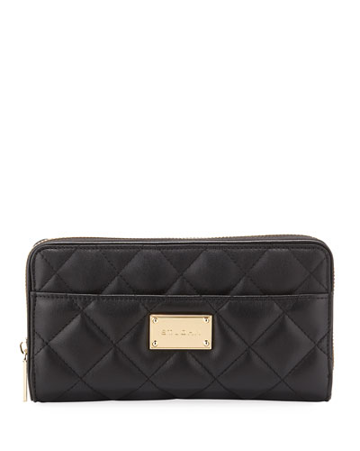 St. John Quilted Leather Continental Wallet, Black