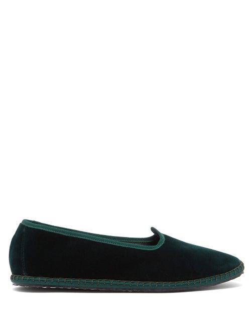 Vibi Venezia Whipstitched Velvet Slippers In Dark Green