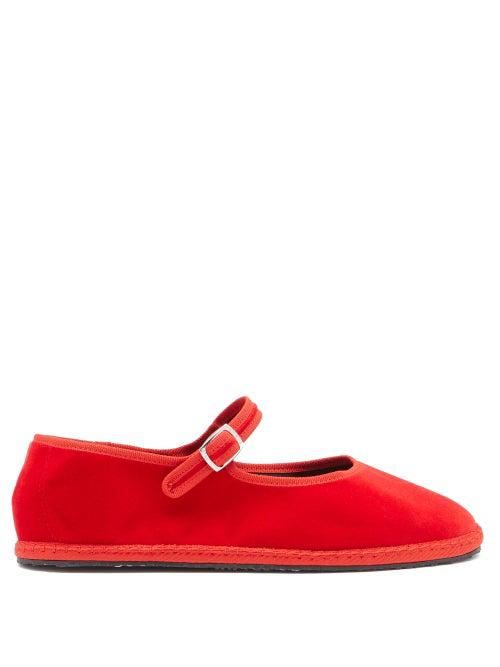 Vibi Venezia Mary-jane Velvet Furlane Flats In Red
