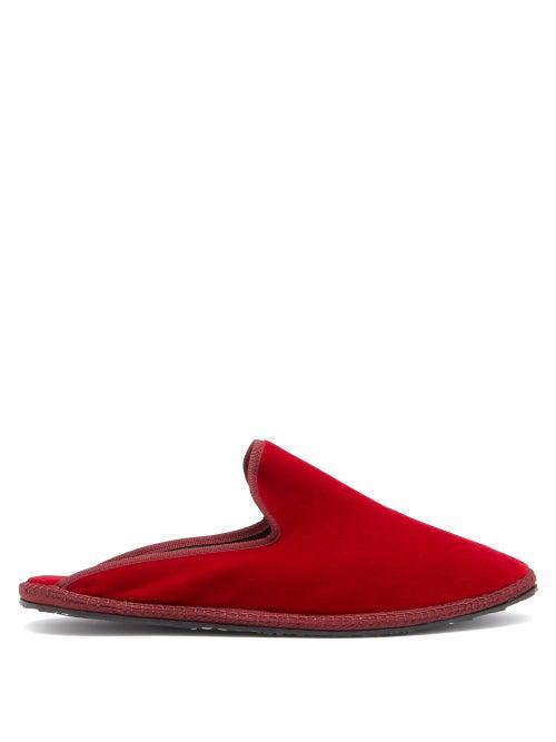 Vibi Venezia Backless Velvet Furlane Slippers In Dark Red
