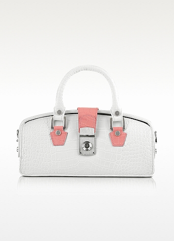 L.a.p.a. Ivory Croco-embossed Mini Doctor Bag In White