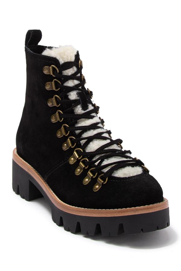 Jeffrey Campbell Stanley Faux Fur Detail Lace-up Hiker In Blsd Ivory