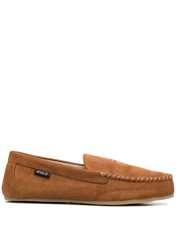 Polo Ralph Lauren Logo Embroidered Loafers In Brown