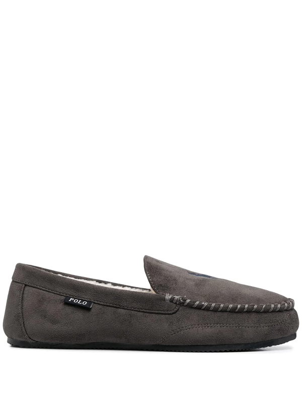 Polo Ralph Lauren Logo Embroidered Loafers In Grey
