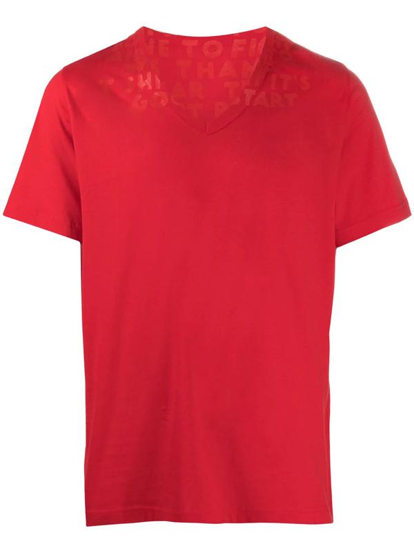 Maison Margiela V Neck Cotton T-shirt In Red