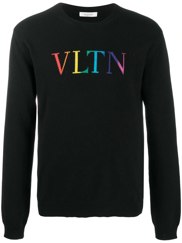 Valentino Black Vltn Rainbow Logo Sweater