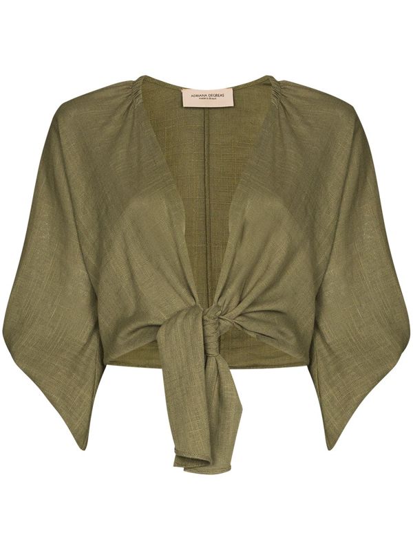 Adriana Degreas Front Tie Fastening Cropped Blouse In Green