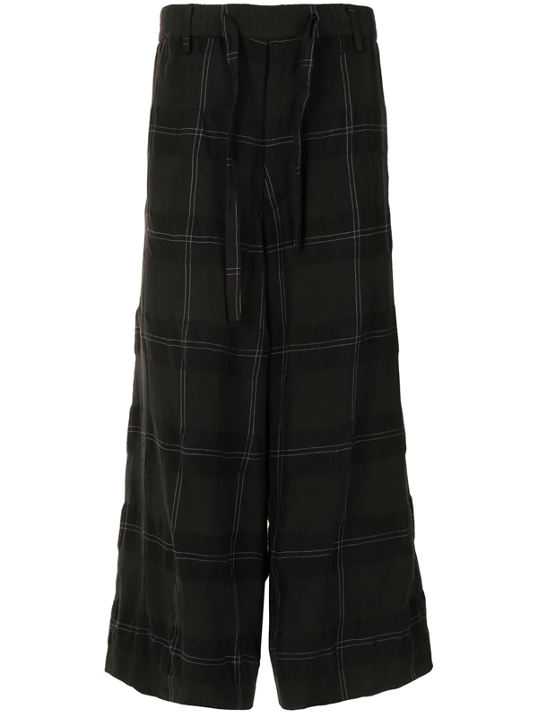 Ziggy Chen Check-print Paperbag Trousers In Black