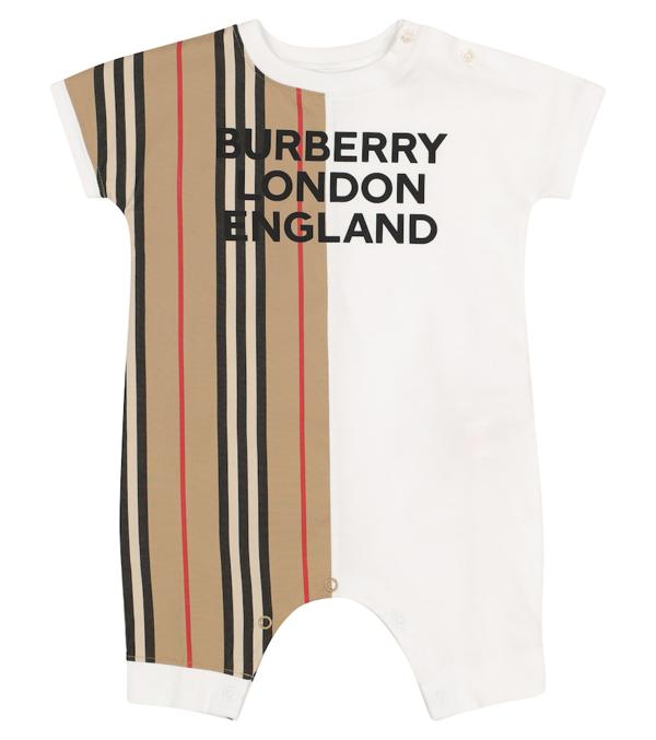 Burberry Baby Icon Stripe Cotton Onesie In Beige