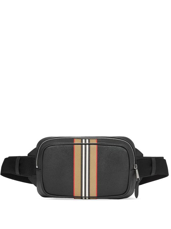 Burberry Icon Stripe Print Leather Bum Bag In Black