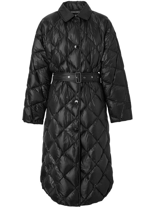 Burberry Logo-appliqué Down-filled Belted Coat In Black