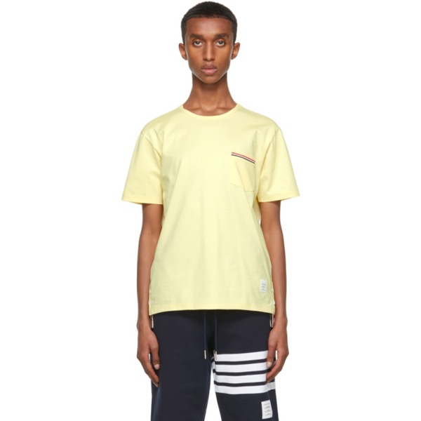 Thom Browne Yellow Jersey Striped Chest Pocket T-shirt In 722 Ltyellw