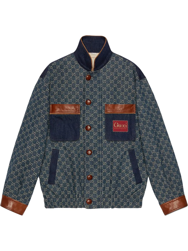 Gucci Eco Washed Organic Denim Bomber Jacket In Blue