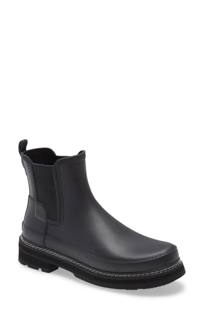 Hunter Refined Stitch Waterproof Chelsea Boot In Black