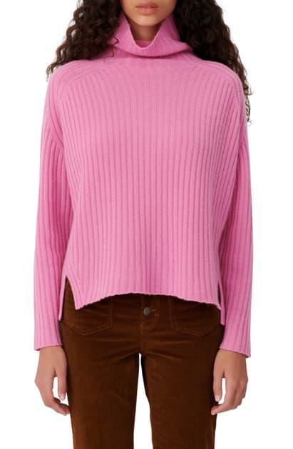 Maje Madinette Ribbed Knit Turtleneck Cashmere Sweater In Pink