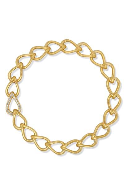 Dean Davidson Signature Pave Teardrop Bracelet In White Topaz/gold
