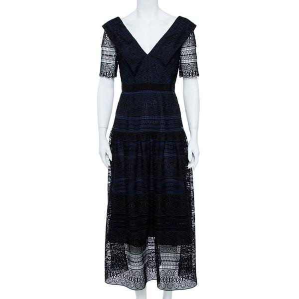 Pre-owned Self-portrait Black & Navy Spiral Panel Lace Midi Dress M