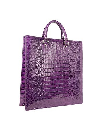 L.a.p.a. Violet Croco Large Tote Leather Handbag W/pouch In Purple