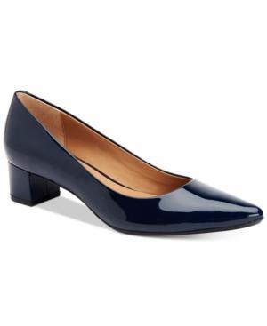 ca4db7475e8 Calvin Klein Women s Genoveva Block-Heel Pumps Women s Shoes In Deep Navy