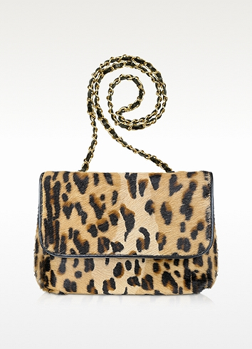 Fontanelli Calfhair Leopard Print Shoulder Bag In Brown