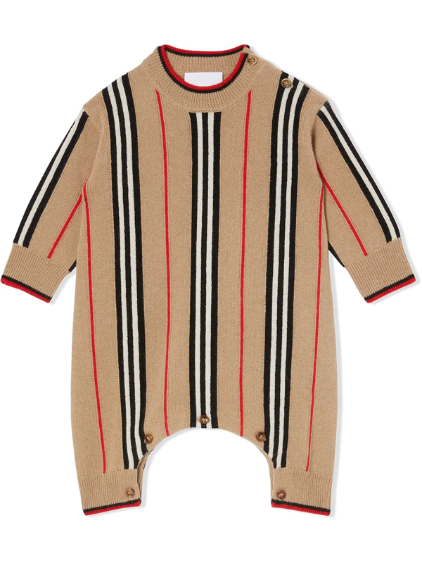Burberry Babies' Icon Stripe Knitted Jumpsuit In Neutrals