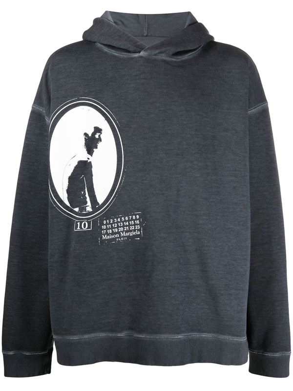 Maison Margiela Graphic-print Hoodie In Grey