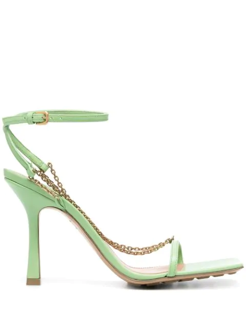 Bottega Veneta Stretch Chain-strap Leather Sandals In Pistachio