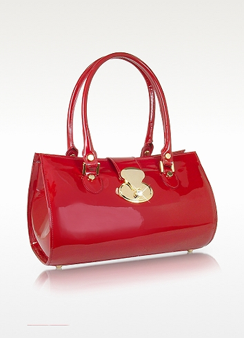 L.a.p.a. Crystal Buckle Patent Leather Barrel Bag In Red