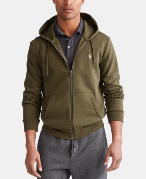 Polo Ralph Lauren Men's Double-Knit Full-Zip Hoodie, Created For Macy's In Company Olive