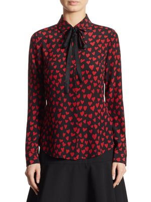 ba60025796a31 Red Valentino Heart Printed Silk Crepe De Chine Shirt In Black ...