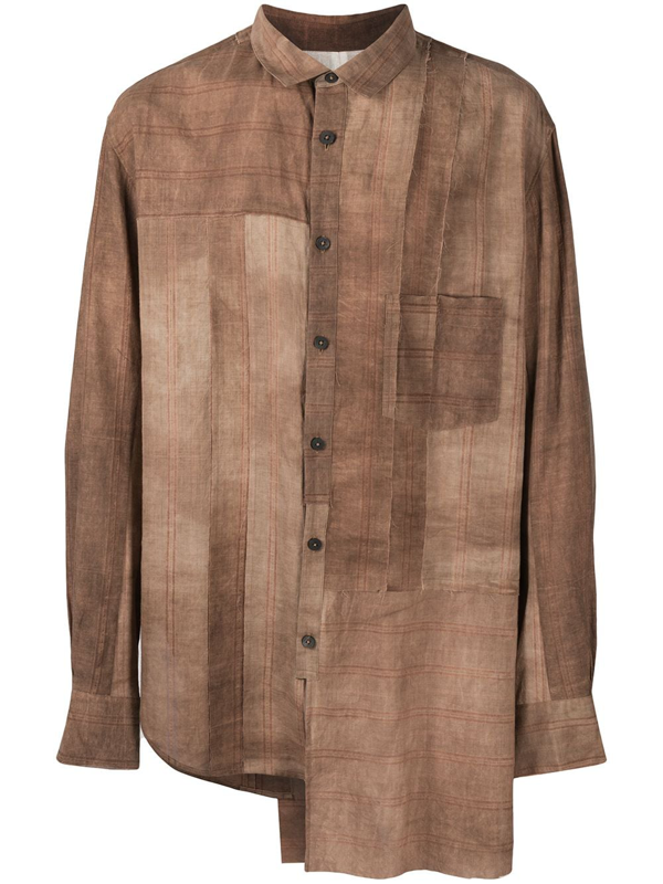 Ziggy Chen Patchwork Asymmetric Shirt In Brown