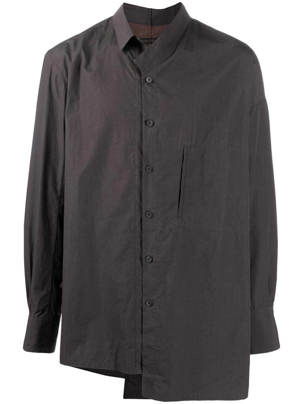 Ziggy Chen Asymmetric Cotton Shirt In Brown