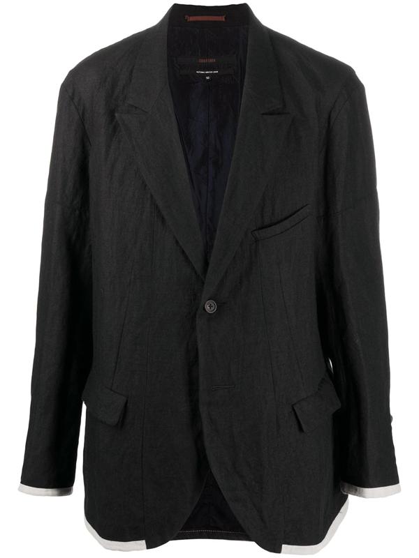 Ziggy Chen Contrast Single-breasted Blazer In Black