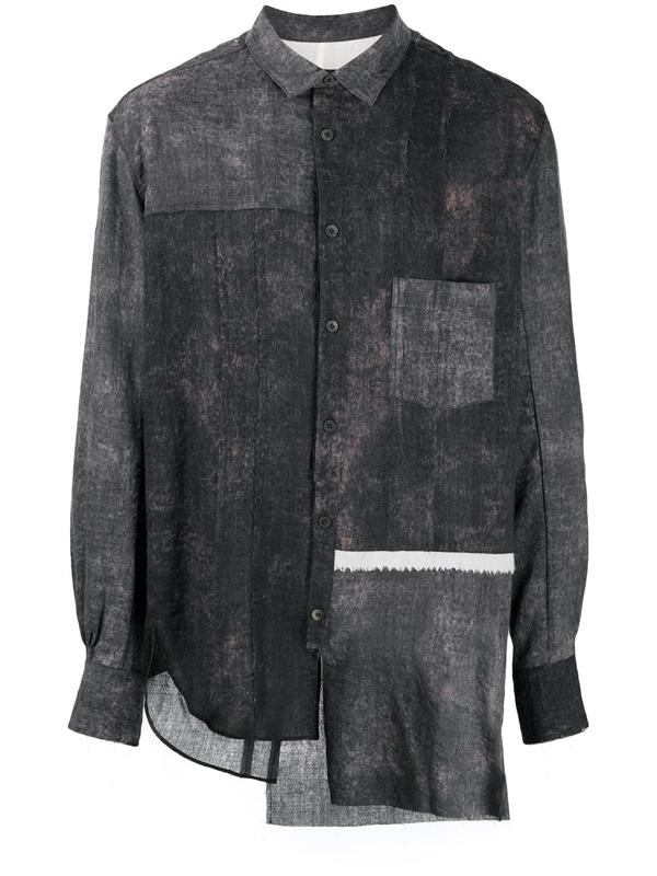 Ziggy Chen Patchwork Asymmetric Shirt In Grey