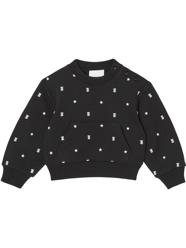 Burberry Babies' Embroidered Sweatshirt Set In Black