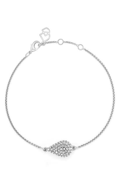 Dean Davidson Cubic Zirconia Pave Teardrop Chain Bracelet In White Topaz/silver