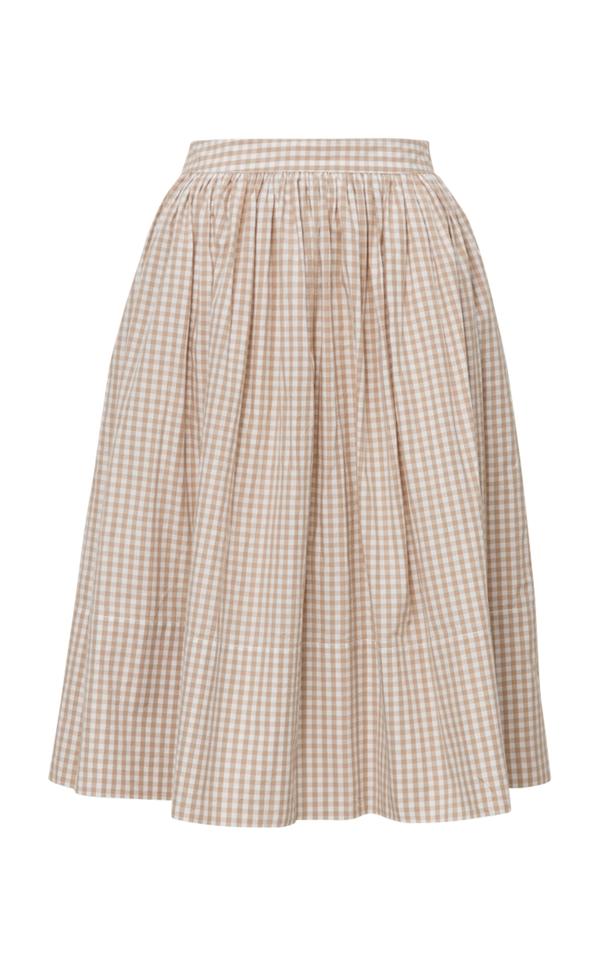 Bytimo Gingham Midi Skirt In Neutral