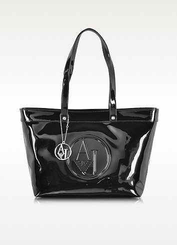 Armani Jeans Black Eco Patent Leather Large Tote Bag
