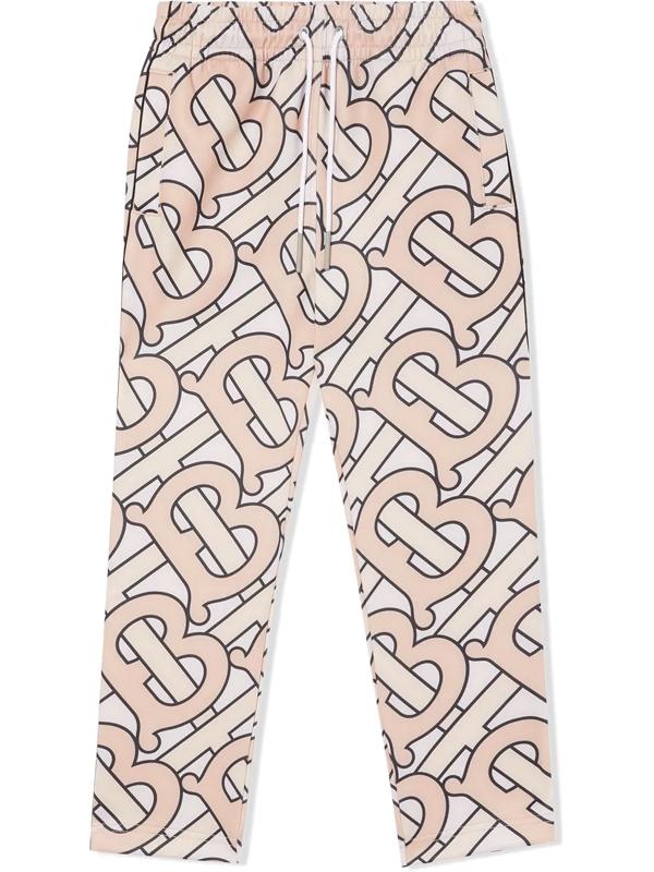 Burberry Kids' Monogram-print Track Pants In Pink