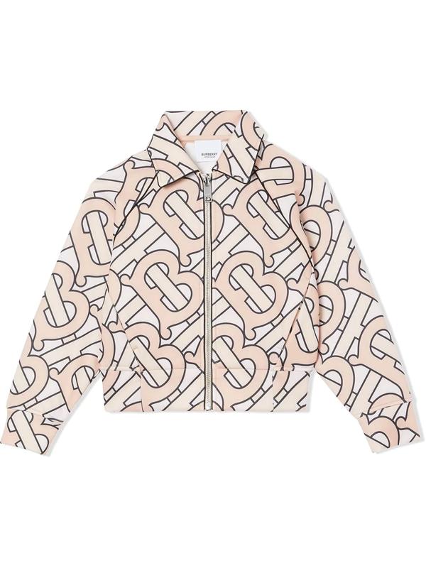 Burberry Kids' Monogram-print Zip-up Jacket In Pink