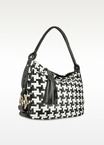 Fontanelli Black And White Houndstooth Woven Leather Tote Bag In Black / White
