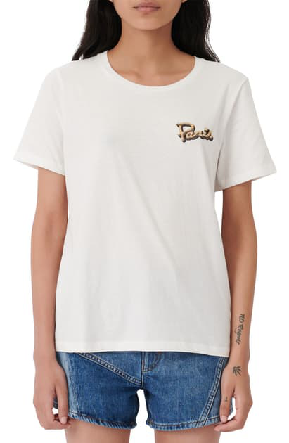 Maje Paris Embroidered Tee In White