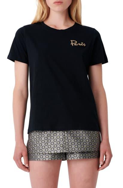 Maje Taris Embroidered Short Sleeve Tee In Black