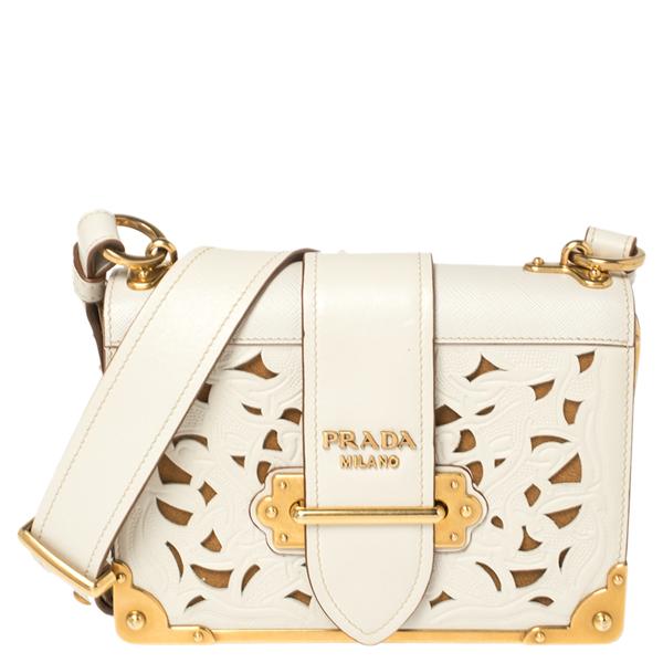 Pre-owned Prada Off White Laser Cut Leather Cahier Flap Shoulder Bag