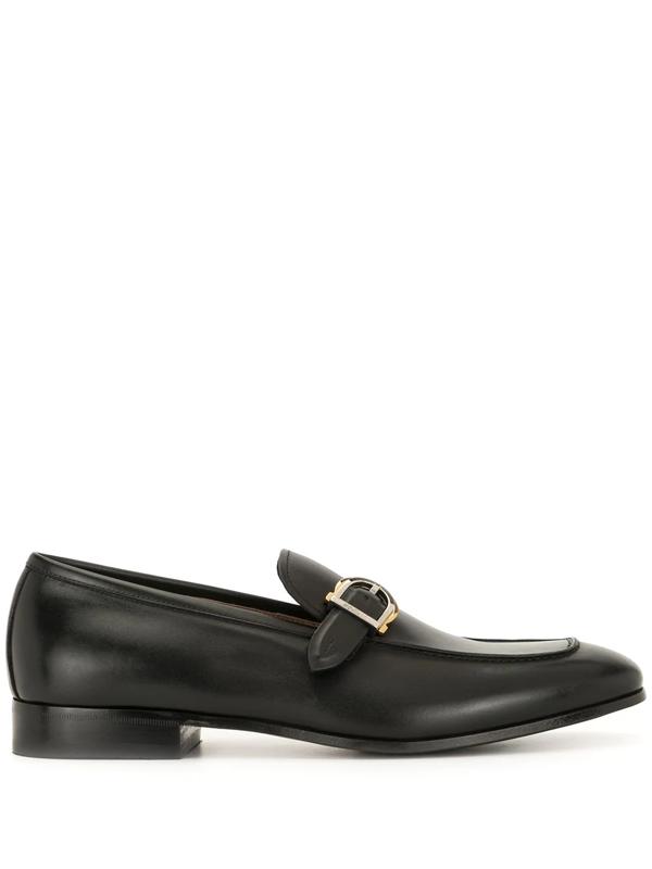 Salvatore Ferragamo Buckle-fastening Leather Loafers In Black