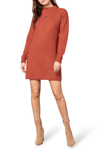 Cupcakes And Cashmere Twain Long Sleeve Sweater Minidress In Rust