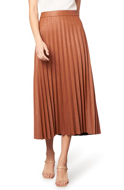 Cupcakes And Cashmere Trinity Faux Leather Pleated Midi Skirt In Cognac