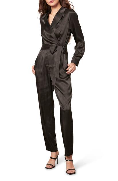 Cupcakes And Cashmere Rowen Tie Waist Satin Jumpsuit In Black