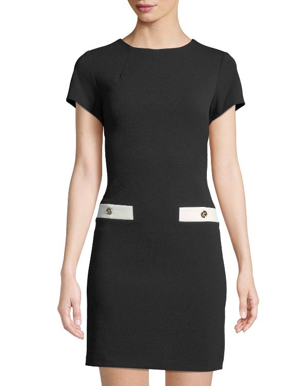 bfa39767515 Tommy Hilfiger Scuba Crepe Pocket Shift Dress In Black Ivory